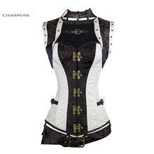 Charmian của Phụ Nữ Cộng Với Kích Thước Steampunk Corset White Steel Boned Renaissance Cổ Điển Áo Nịt Ngực Gothic và Bustiers Thắt Top