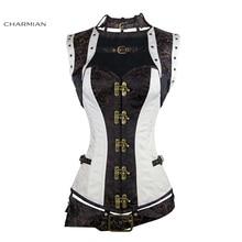 Charmian delle Donne Più Il Formato Corsetto Steampunk Acciaio Bianco Disossato Rinascimentale Vintage Gothic Corsetti e Bustini Con Cintura Top