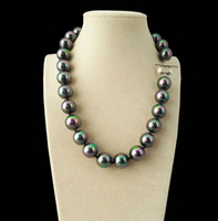 HOT 003202 Rare Huge Rainbow Black 14mm South Sea Shell Pearl Heart Clasp Necklace 18 AAA