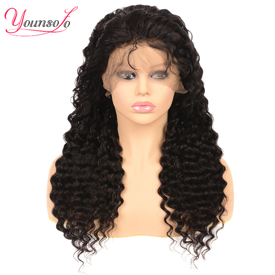 Younsolo 360 Lace Frontal Wig Pre Plucked With Baby Hair Brazilian Deep Wave Human Hair Wigs Remy Hair Lace Front Wigs