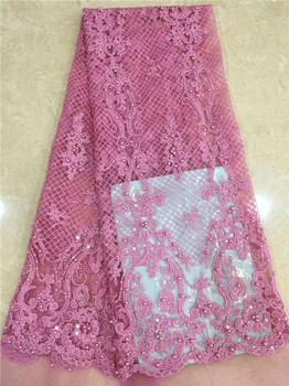 Nice pink French tulle net lace fabric with beads for party dress PDN57(5yards/lot)