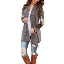 Women Basic Coats Jacket Women Long Sleeve Knitwear Casual Outwear Jacket Coat Sweater Cardigan Gray Coat