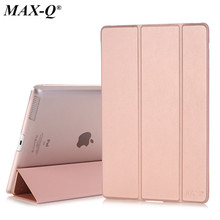 Case for Apple iPad 2 3 4, MAX-Q Color PU Transparent Back Ultra Slim Light Weight Trifold Smart Cover Case for iPad 2/3/4(China)
