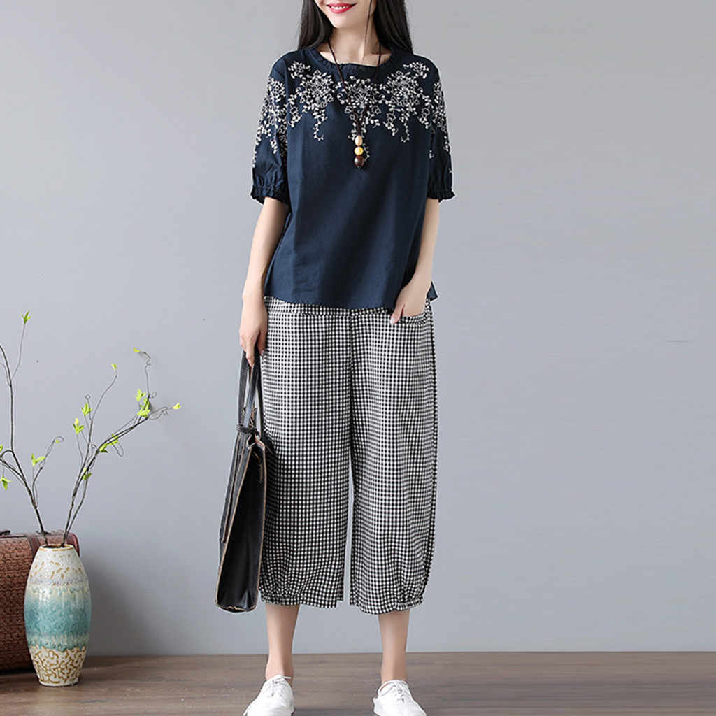 JAYCOSIN 2019 New Summer Women Suit Fresh Korean Plants Print Half Sleeve Tops And Pockets Plaid Calf-Length Pants Set 9042445