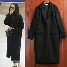 Nice New Arrived Winter Wool Coat Women Black Coat Trench Warm Women's Coat European Fashion Women's Clothing Plus Size WD1186