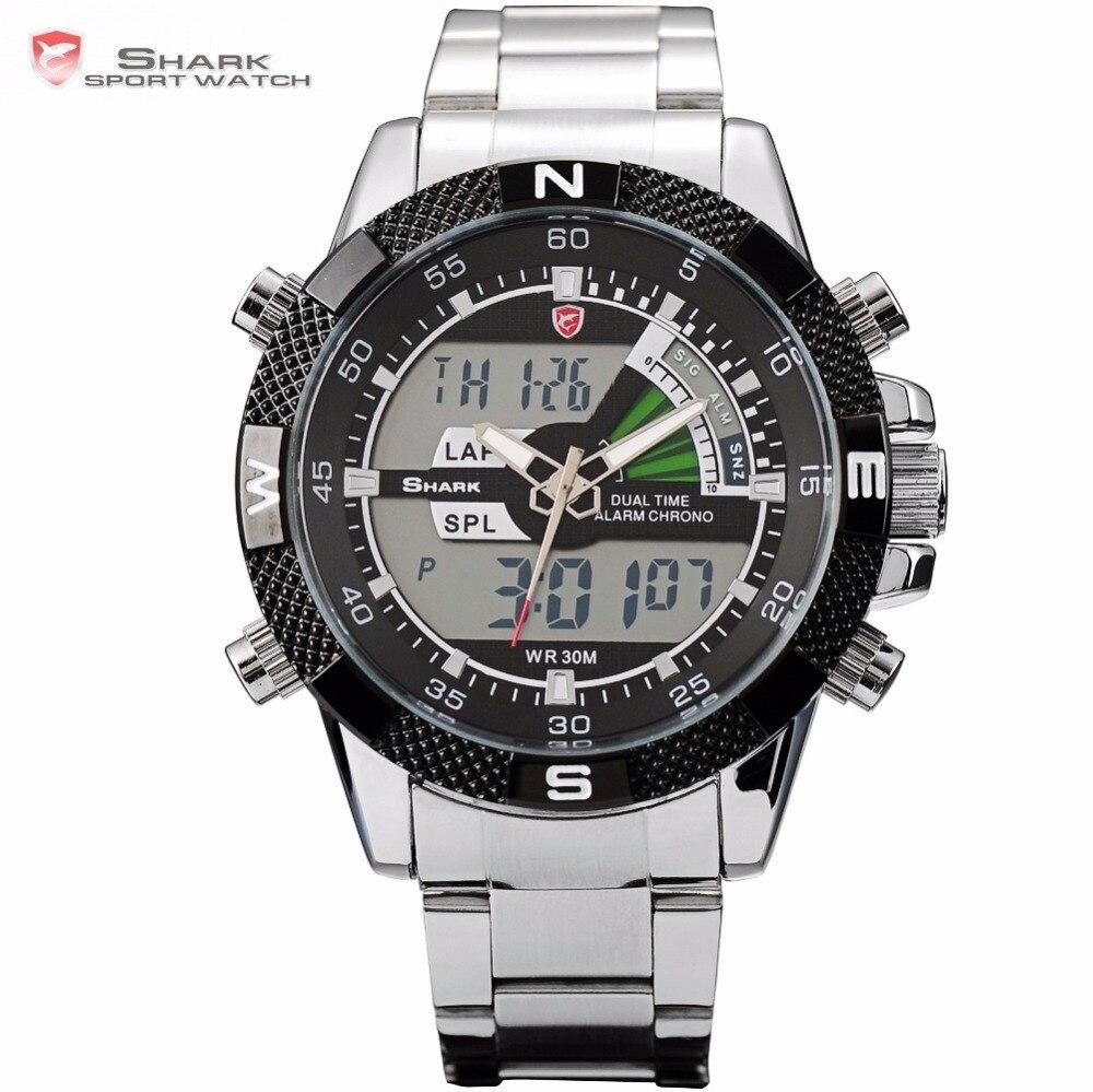 Steel Porbeagle SHARK Sport Watch Luxury Black Digital Male Quartz Fashion LCD Date Stopwatch Relogio Masculino