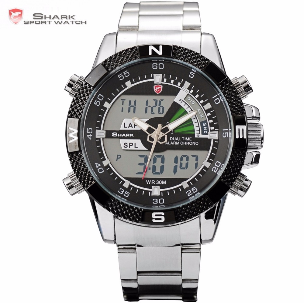 Steel Porbeagle SHARK Sport Watch Duplo Tempo Analógico digital LCD Data de Alarme Cronômetro Homens Relógios de Aço Inoxidável Preto Quartzo / SH047