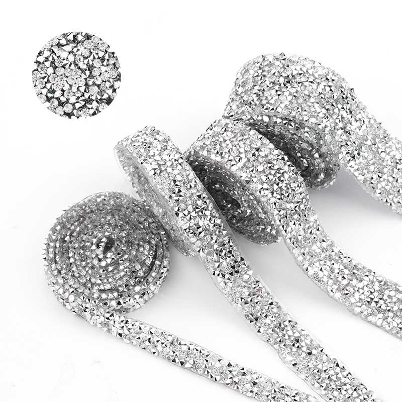 1 Yard Naaien Trim Crystal Motief strass Hot Fix Strass Tape Applicator Lint Met Strass Ijzer Op Appliques Voor Jurken