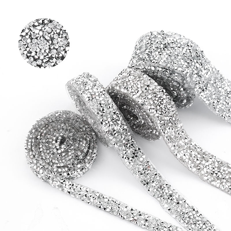 1 Yard Sewing Trim Crystal Motif Strass Hot Fix Rhinestone Tape Applicator Ribbon With Rhinestones Iron On Appliques For Dresses