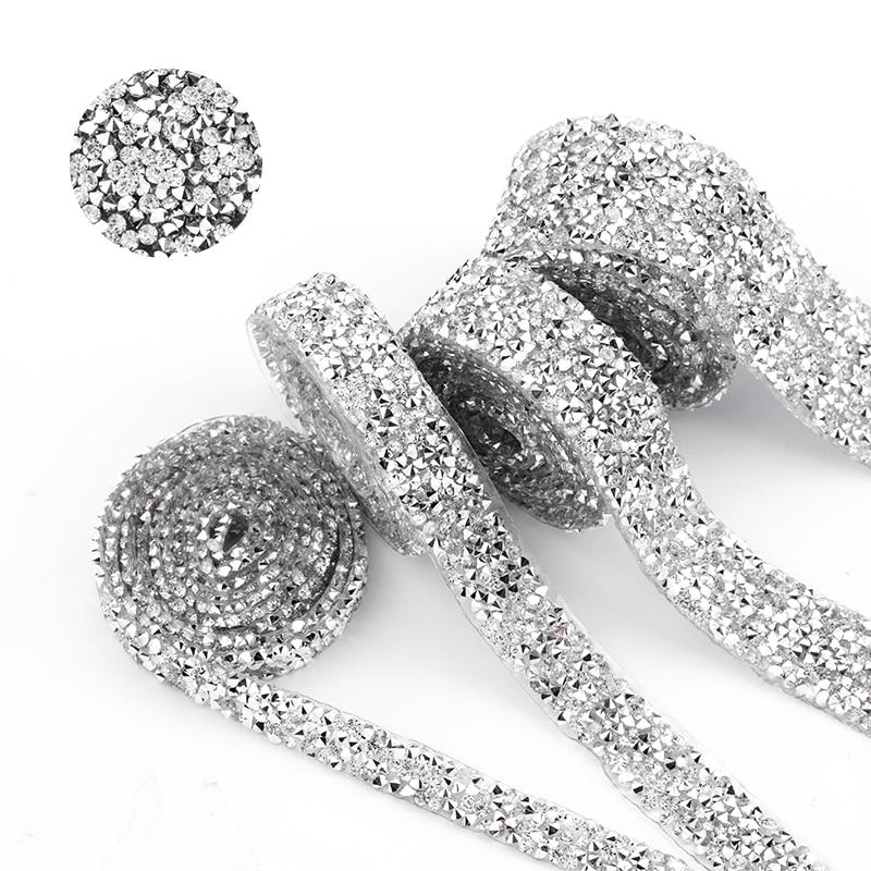 1 quintal costura guarnição cristal motivo strass quente fix strass fita aplicador fita com strass ferro em apliques para vestidos
