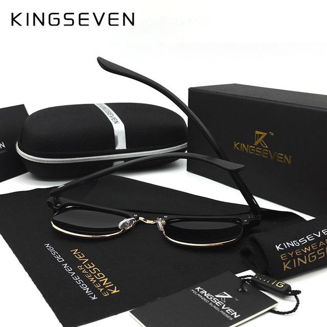 KINGSEVEN 2016 New Polarized Sunglasses Men/Women Retro Rivet High Quality Polaroid Lens Brand Design Sun Glasses Female Oculos