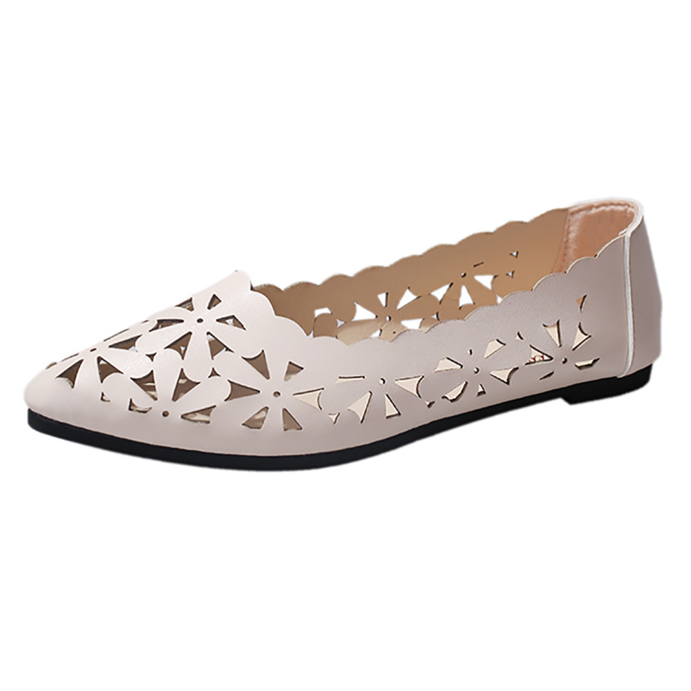 New Arrival Women Flats Shoes Shallow Flat Heel Hollow Out Flower Shape Nude Shoes Pointed-toe Shoes Zapatos Mujer