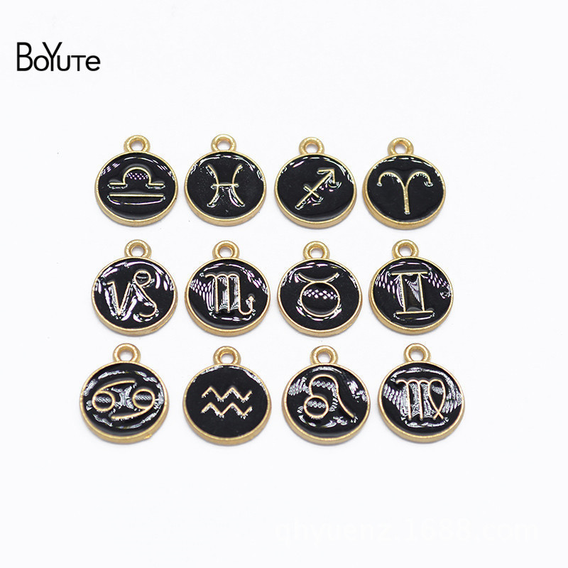 BoYuTe (12 Pieces/Set) Metal Alloy Black Enamel Zodiac Signs Charms Pendant Diy Hand Made Jewelry Accessories(China)