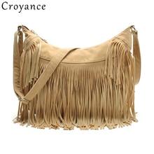 Croyance Vintage Bohemian Fringe Messenger Crossbody Bag Purse Women Tassel Handbag Solid Color