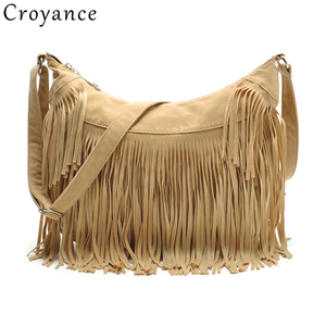 Image 1 - Croyance Vintage Bohemian Fringe Messenger Crossbody Bag Purse Women Tassel Handbag Solid Color