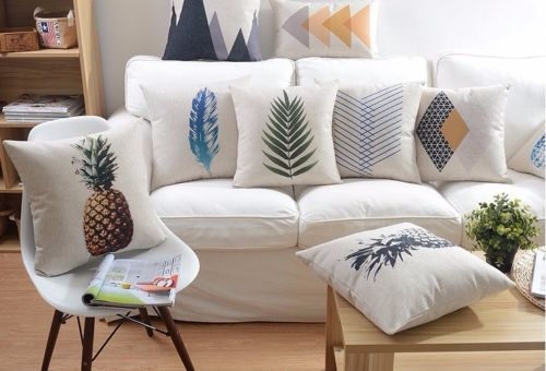 Vintage Pineapple Rhombus Feather Cushion Cover Throw Pillow Case ...