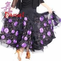 2018 ballroom dance skirts embroidered dress ballroom standard dance sapphire/pink/purple dancing dress for women