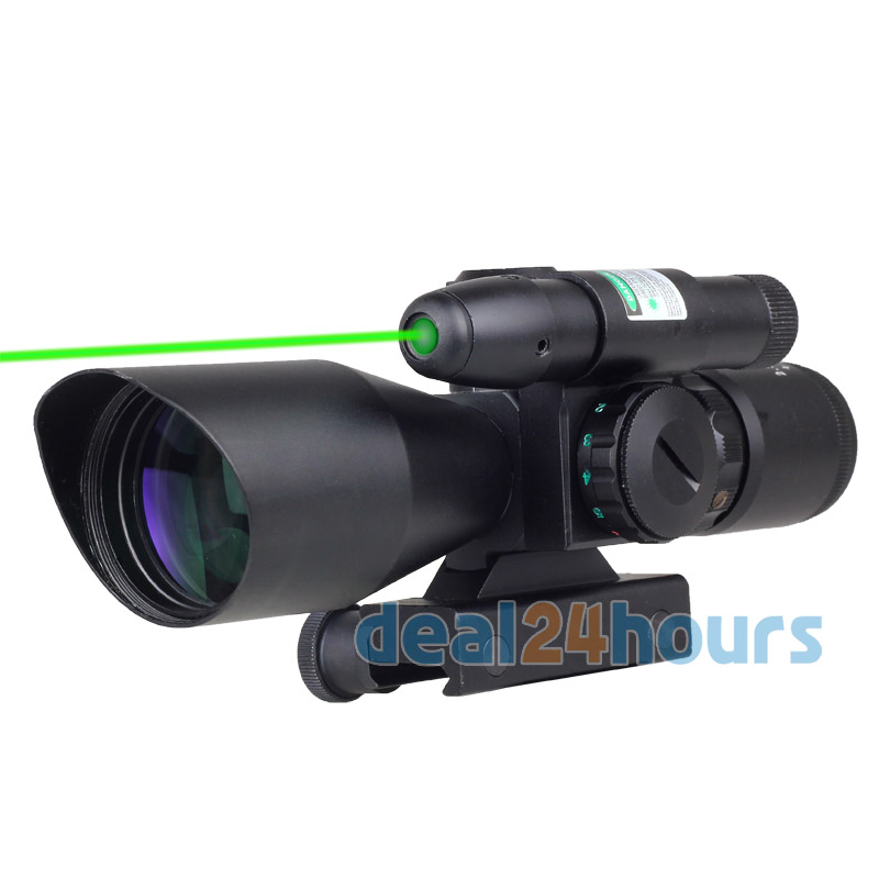 Здесь можно купить   New Tactical Rifle Green Dot Laser Sight 2.5~10X 40mm Scope Reflex Red Reticle Mount Free Shipping! Спорт и развлечения