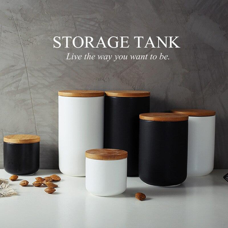 Scandinavian Sealed Can Jar Creative Kitchen Ceramic Coffee Bean