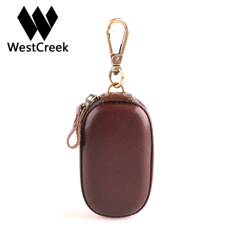 Westcreek Brand Genuine Leather Handmade Men Vintage Zipper Car Key Wallets Women Minimalist Small Key Housekeeper Holder