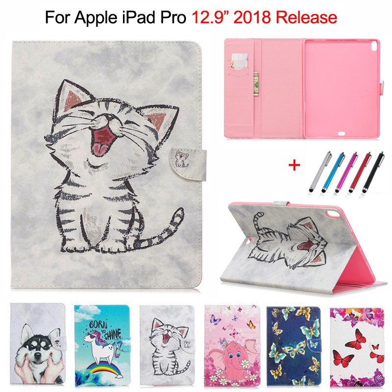 Cute Cat Unicorn Puppy Butterfly Tablet Cover For IPad Pro 12.9 2018 Case Stand Wallet Shell For IPad Pro 12.9 Case 2018 + Gift