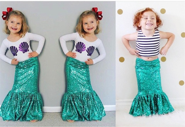 Girls Mermaid Shell Print T-shirt Tops+Mermaid Skirt Outfits Clothes Costume NEW  sc 1 st  AliExpress.com & Girls Mermaid Shell Print T shirt Tops+Mermaid Skirt Outfits Clothes ...