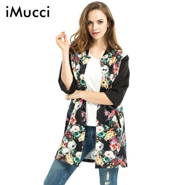 Large Size 3XL Print Long Coat Women Spring Fashion Half Sleeve O-Neck Single Breasted Baseball Trench Casual Loose Long Coats