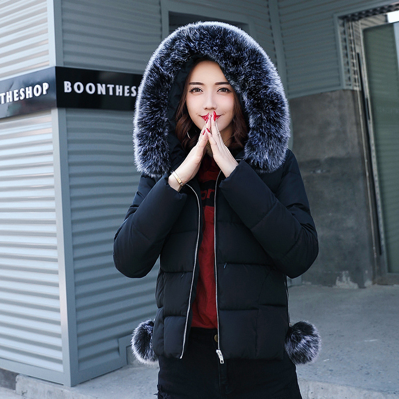 цены на Duck Down Ladies Girls Jacket Big Grey Fur Hooded Winter Think New Maternity Clothes Goose Feather Warm Women's Short Down Coat в интернет-магазинах