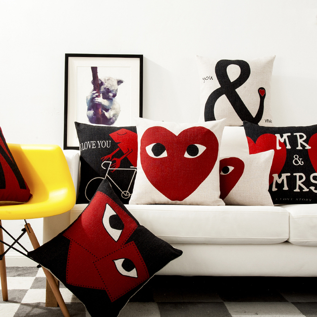 Love Decorative Pillows Cases Red Black White Cushion Cover Home Best Red And Black Decorative Pillows