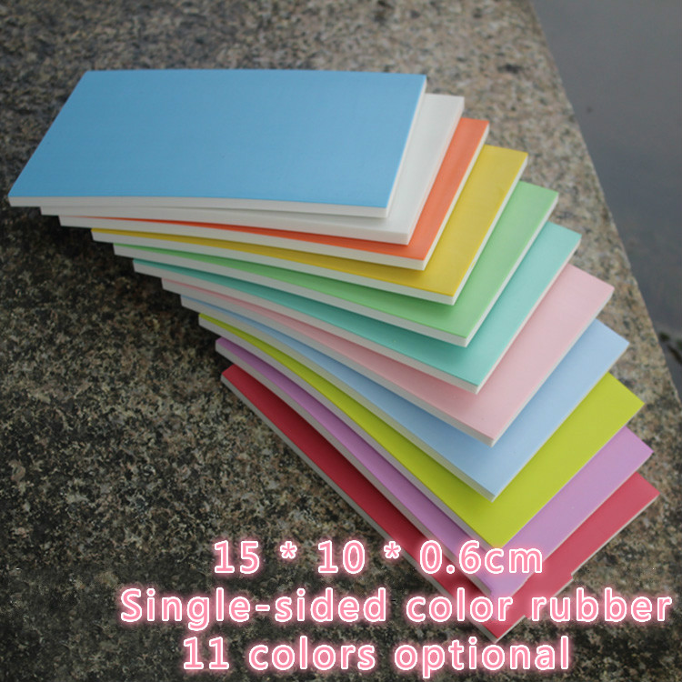 Engraving practice rubber brick 15 * 10 * 0.6cm single-sided color rubber 11 color optional rubber chapter color rubber brick single sided blue ccs foam pad by presta