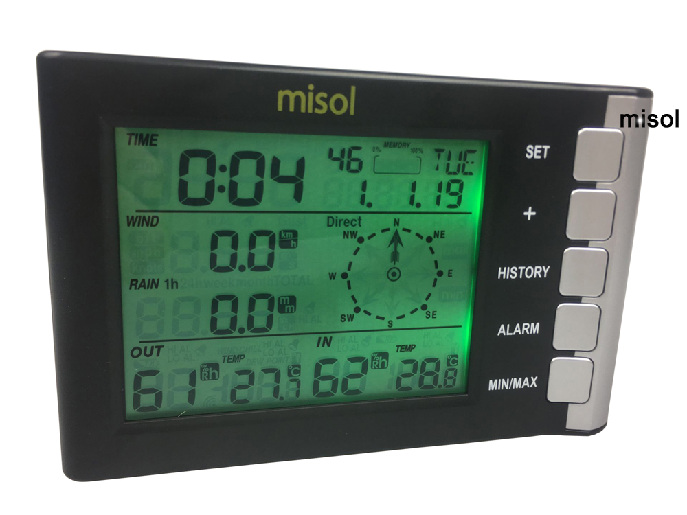 Professional weather station wind speed wind direction temperature humidity rain 433Mhz