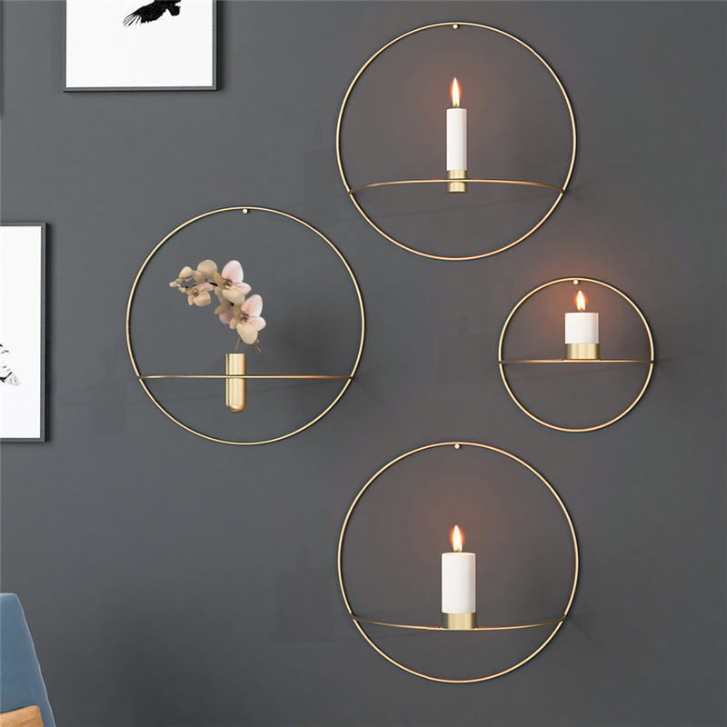 Us 3 96 14 Off Circle Candle Holder Wall Mounted Europe 3d Metal Candlestick Geometric Tea Light Home Decor Crafts Wedding Decoration 19 29cm In