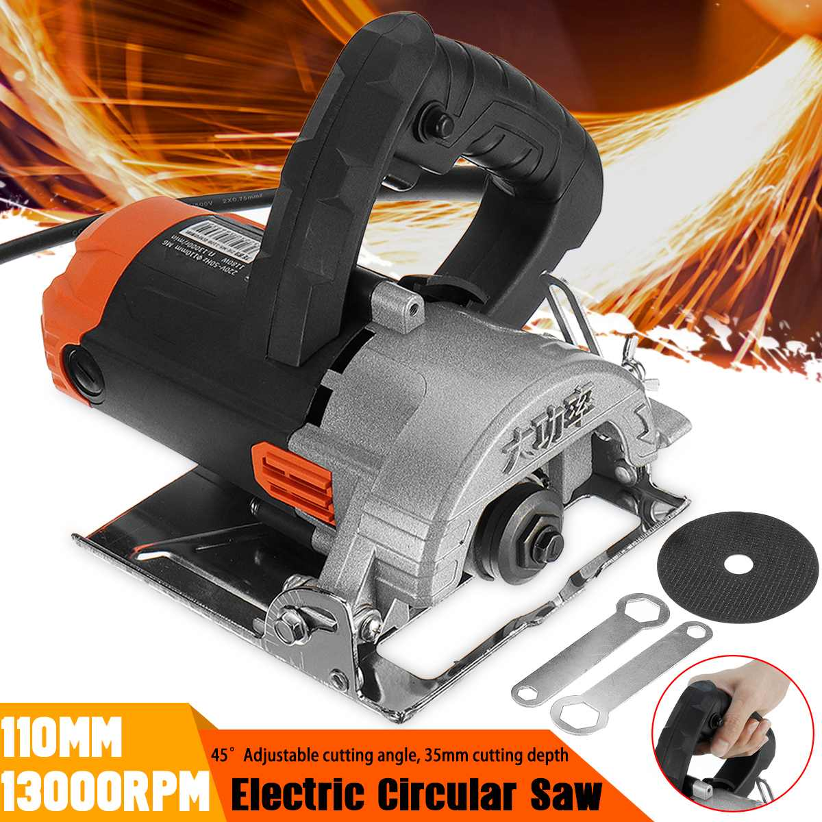 Portable Cutting Machine 1180W Electric Saw Motors 110mm Blade 13000RPM High Speed Wood Metal Wire Saw Ceramic Marble Tile Tool