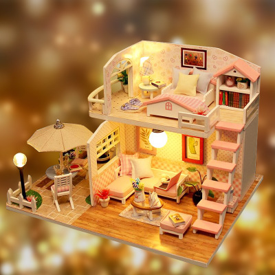 mylb Miniature Diy Puzzle Toy Doll House Model Wooden Furniture Building Blocks Toys Birthday Gifts PINK LOFT VILLA