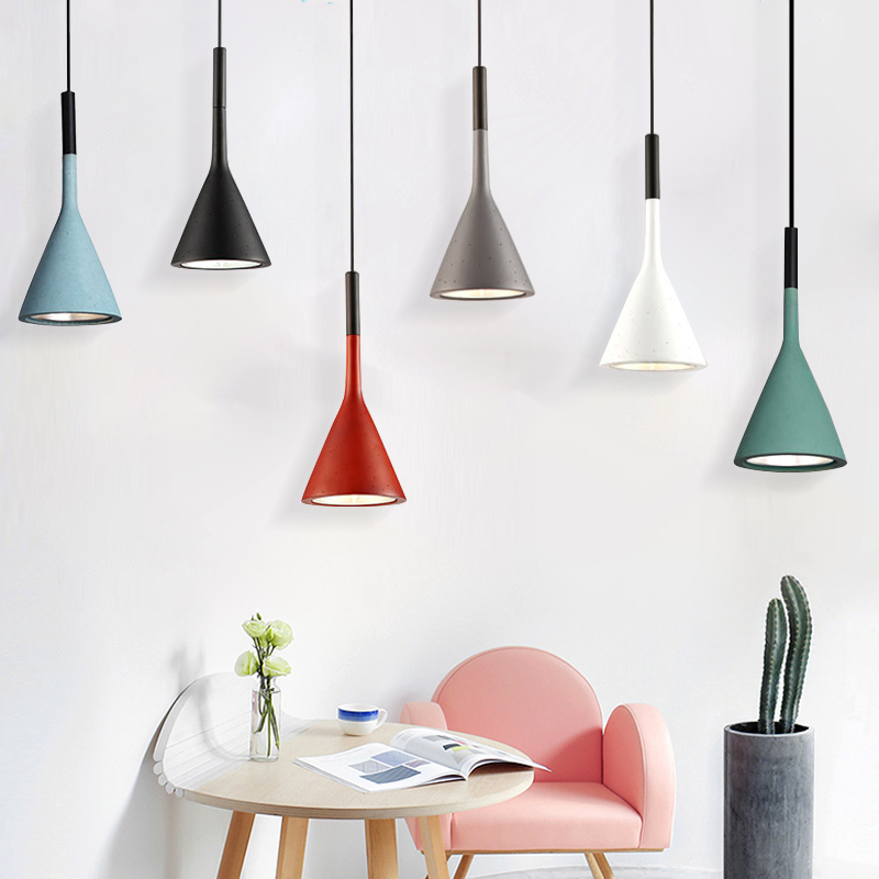 Modern Colorful Cement Pendant Lights Dining Room Art Pendant Lamps Hanging Lamps Restaurant Bar Cafe Home Lighting in Pendant Lights from Lights Lighting