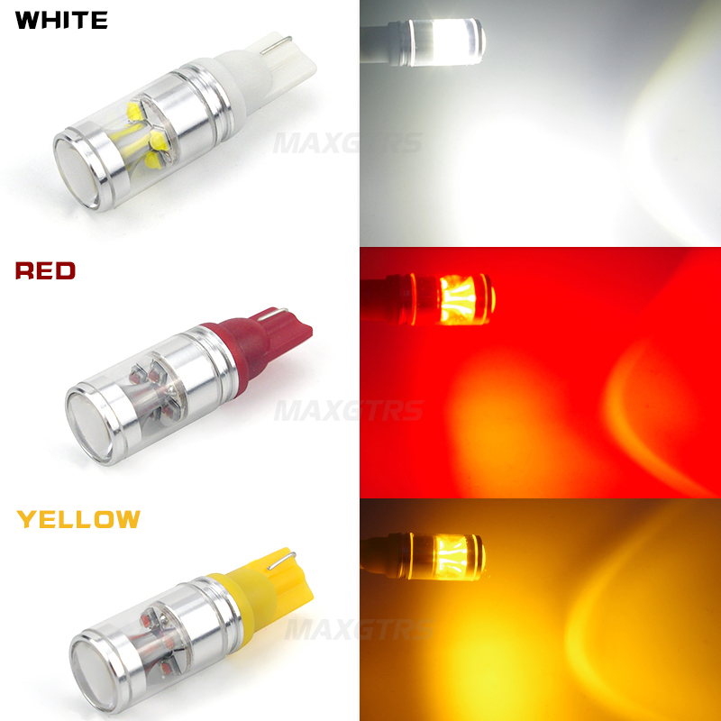 2x Super Bright T10 194 168 W5W 6SMD Cree Chip 30W Wedge Base Car Auto LED Reverse Light Backup Light with Projector Lens