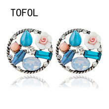 TOFOL Womens Earrings Dangler Circular Flower Pierced Color Earring Anniversary Gifts for Women Fashion Female Ear Jewelry