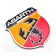 3D Refitting ABARTH With Scorpion Metal Vehicle Decals Funny Decal On Car Sticker Chrome Badge Emblem