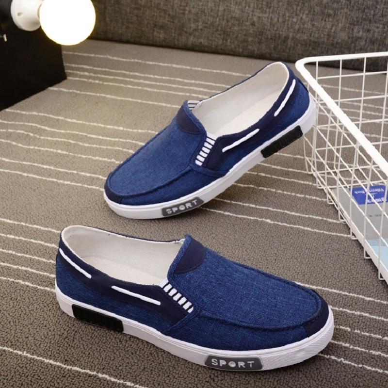 Angleterre Inusable Plat Tissu Respirant Chaussures La Patchwork Blue Toile Coréenne grey 2018 Casual Caoutchouc Hommes Sueur Bateau Absorbant brown PnfqIOwx07