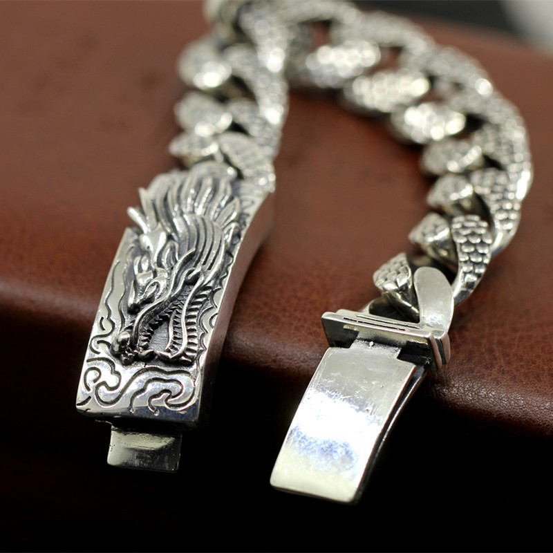 Limited Edition Pure Silver Dragon Bracelet Chain Fine Jewelry S925 Silver Chian Band Men Cool Chinses Dragon Hand Chain Bangle montegrappa chaos limited edition 18k gold fountain pen fine point