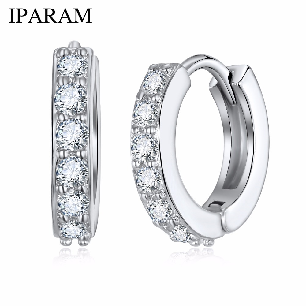1 Pair Silvering Plated Huggies Earrings Small Round Rhinestones Hoop Earrings Women's Hot Fashion Jewelry Gifts Jewelry Gift