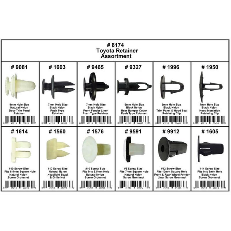 146 Clips Fender Door Hood Bumper Fastener Retainer Assortment 8174 For Toyota