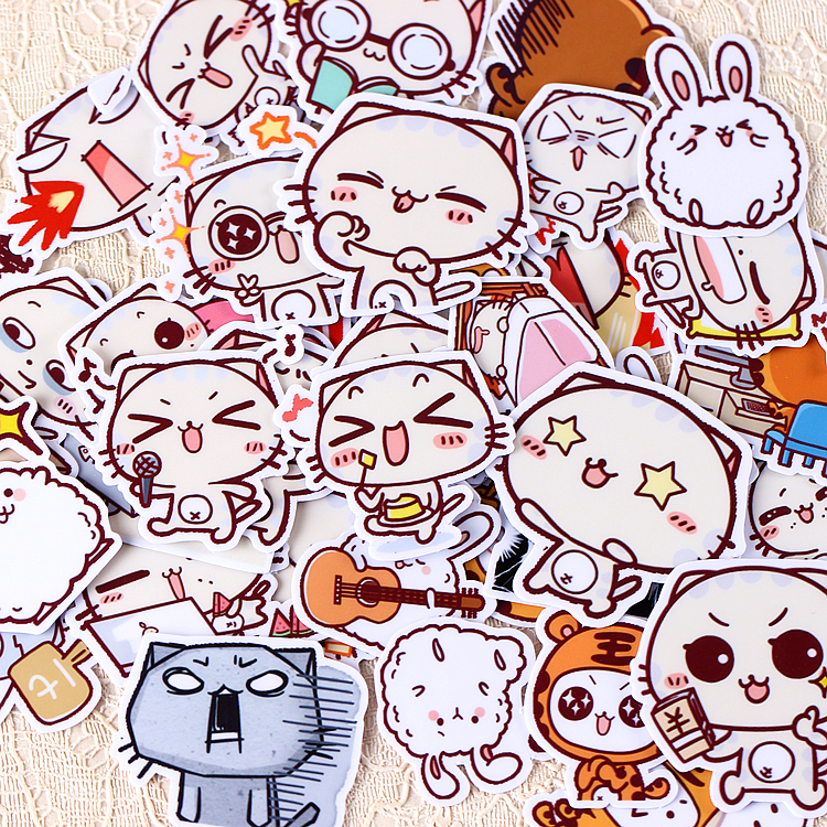40pcs Self-made Cute Expression Face Cat Scrapbooking Stickers DIY Craft DIY Sticker Pakc Photo Albums Deco Diary Deco