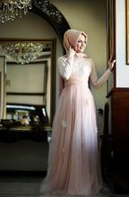 Mermaid High Collar Long Sleeve Pink Color WIth Hijab Embroidery Floor Length Long Sleeve Muslim Expensive Evening Dress