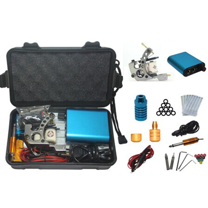 Complete Starter Tattoo Machine Set Kit 1Pcs Coil Tattoo Machine Guns Power Supply Foot Pedal Needles Grips Tips With Case 2017 pro complete tattoo machine kit set 2pcs coil tattoo machine gun power supply needles grips tips footswitch for body art