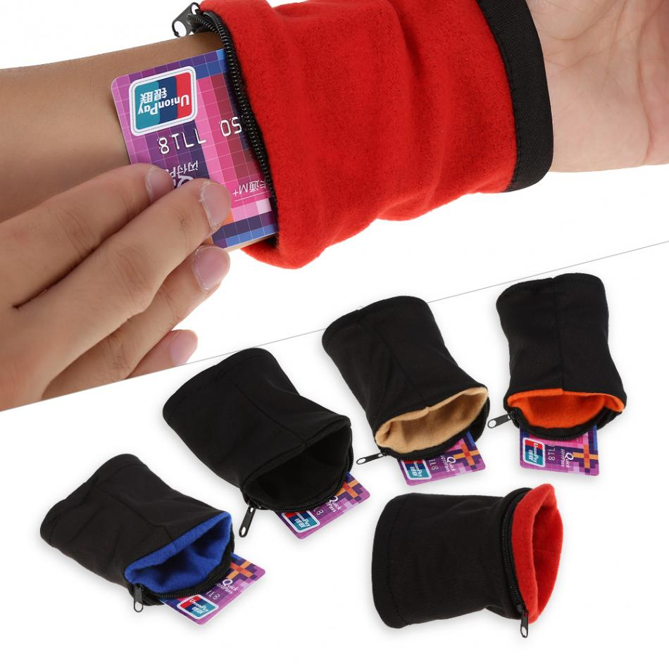 Хлопок Бег наручные чехол дышащий бумажник карты безопасный сумка на молнии спортивный ремень сумка утренняя зарядка Фитнес браслет мешок
