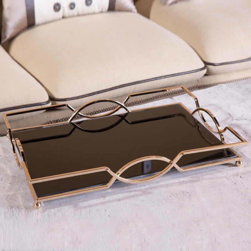 Simple And Creative High-grade Metal Mirror Tray Rectangular Tray Model Room Hotel Bathroom Desktop Storage Tray
