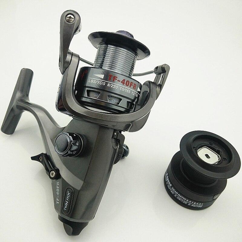 TF-40/50/60FR énorme rotation roue de pêche carpe bobine double rapport de vitesse 6.3: 1 4.3: 1 BB 12 + 1 pré-chargement double bobines