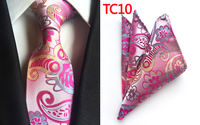 NEW Design 8cm Formal Ties SET For Grooms Wedding Classic Jacquard Woven Cravates Sets With Handkerchief