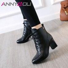 купить ANNYMOLI Winter Ankle Boots Women Boots Zipper Block High Heel Short Boots Lace Up Pointed Toe Shoes Lady Autumn Big Size 33-43 дешево